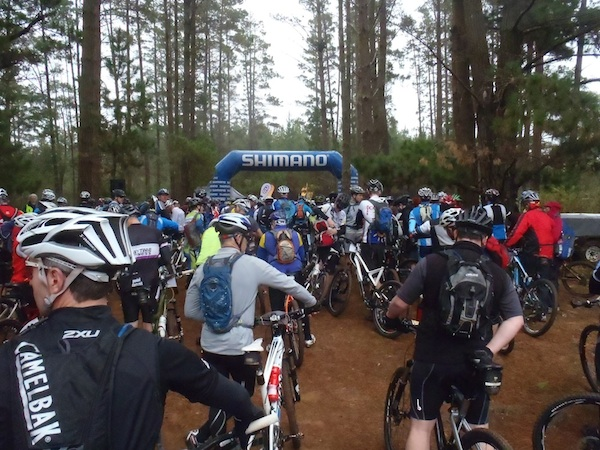 Riders at the start arch