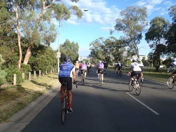Riders on Parkes Way in Canberra