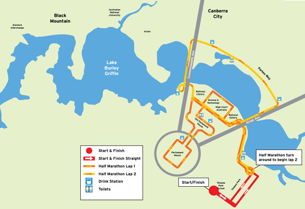 Route for the Canberra running festival half marathon