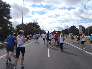 Running up towards Parliament House
