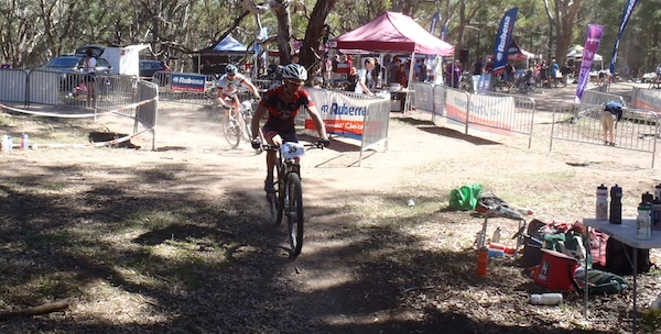 Mountain bikers coming through event centre.